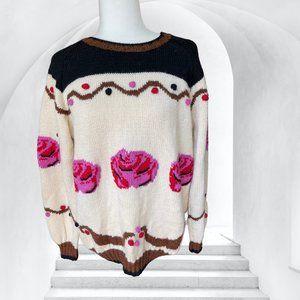 Vintage Roberta Freymann Knit Pom Pom Rose Sweater